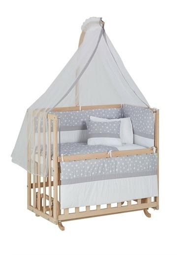 Babycom Naturel Ahşap Boyasız Anne Yanı Beşik 50 X 90 Kademeli Beşik + Kahve Zikzak Uyku Seti Gri